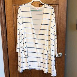 Lularoe White & Royal Blue Stripe Caroline NWOT